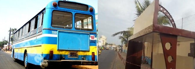 A gauche un bus de la société Dakar Dem Dikk et à droite un arrêt bus récemment peint aux couleurs du parti au pouvoir.